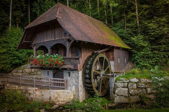 vodní mlýn u lesa