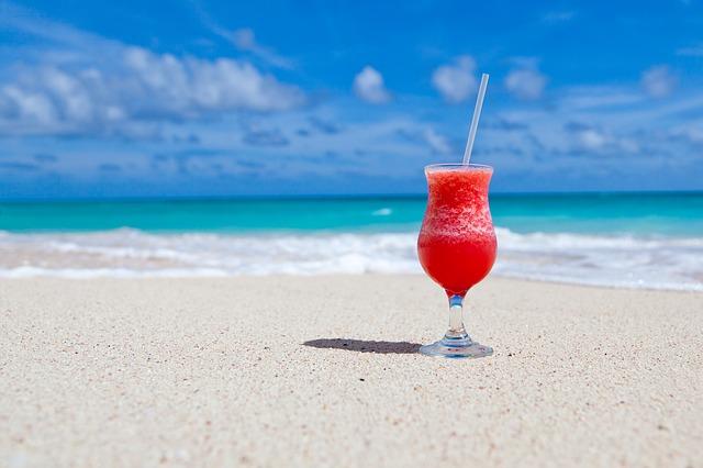 pláž, moře, drink